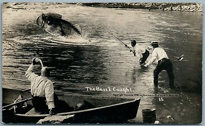 Fishing Bass I Caught Canada Antique Exaggerated Real Photo Postcard Rppc