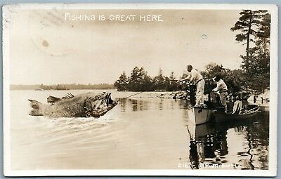 Fishing Is Great Here Antique 1913 Exaggerated Real Photo Postcard Rppc