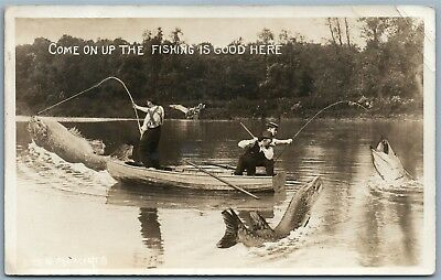 Fishing Antique 1914 Exaggerated Real Photo Postcard Rppc