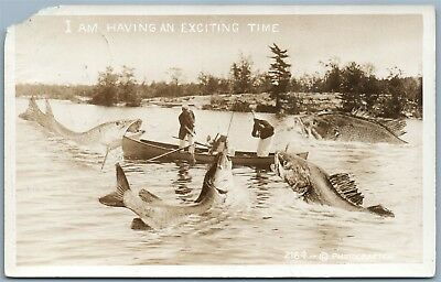 Fishing Antique 1915 Exaggerated Real Photo Postcard Rppc