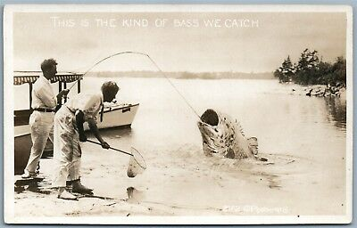 Fishing Antique Exaggerated Real Photo Postcard Rppc Kind Of Bass We Catch