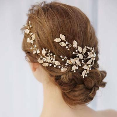 Bridal Wedding Gold Leaf Branch Pearl Hair Clip Hairpin Tiara Headpiece Jewelry