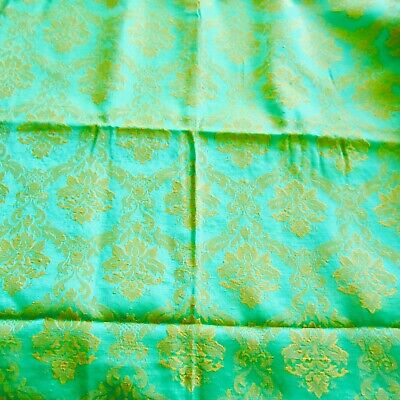 50cm x 62cm  Vibrant Lime Green Vintage Cotton Damask Upholstery Fabric 1960s