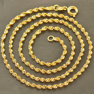 Original  9K Solid Gold Filled Water Wave Chain Necklace,17.9 Inches,Z2018