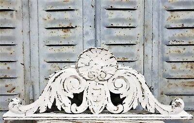 Painted cottage Shabby pediment Antique french carved wood salvaged furniture