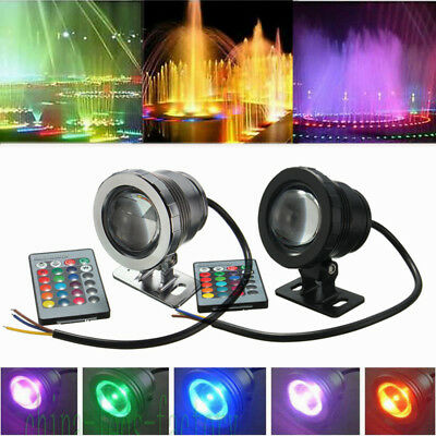10W Led Rgb Light Fountain Pool Pond Spotlight Underwater Waterproof+Remote Ip68