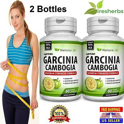 2 X BOTTLES 120 Capsules 3000mg Daily GARCINIA CAMBOGIA HCA 95% Weight Loss Diet