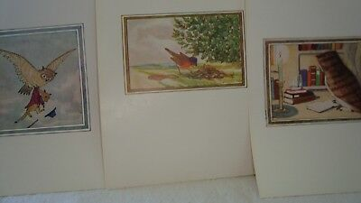 3 Vintage Little Grey Rabbit Illustrations - Colour Book Plates Birds Owl Robin