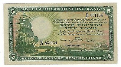 South Africa J Postmus 1st Issue 5 Pounds September 1942 EF. JO-5581
