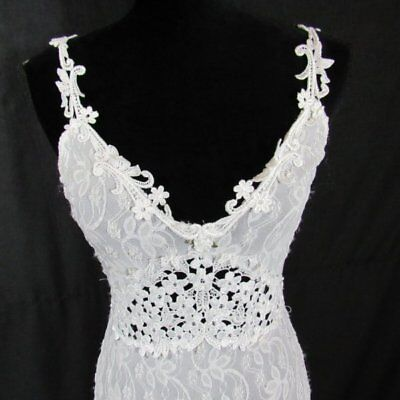 Claire Pettibone Bridal White Gown M Long Stretch Lace Long Classy Sexy Eyelet