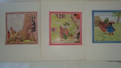 3 Vintage Little Grey Rabbit Illustrations - Colour Book Plates Hen
