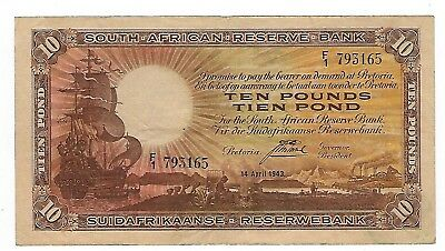 South Africa Postmus 10 Pounds 1942 F1 VF/VF+. JO-5590