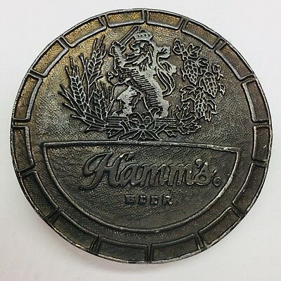 Vintage 1970s Wyoming Studio Brass Belt Buckle HAMM's Beer Round Logo