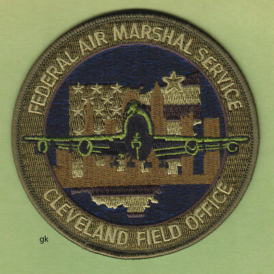 FEDERAL AIR MARSHAL CLEVELAND OHIO FIELD OFFICE POLICE  PATCH. Subdued -Green