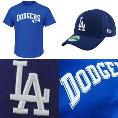 LA Dodgers Word Logo Officially Licenced MLB T shirt + New Era 9FORTY Cap