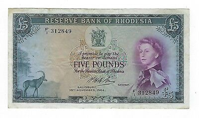 Rhodesia 5 Pounds 1964 VF. JO-5618
