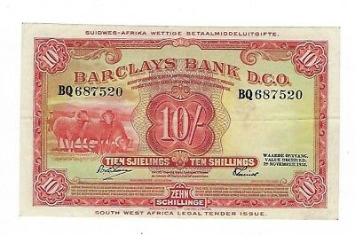 Barclays Bank Southwest Africa 10 Shillings 1958 P4b VF+. JO-5624
