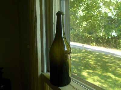 1820 Blackglass Wine Bottle Jagged Pontil Crude Sheared Lip W/applied Ring Nice!