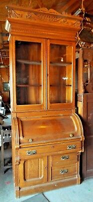 Old Antique 1880's CARVED OAK CYLINDER SECRETARY DESK BOOKCASE Original Finish