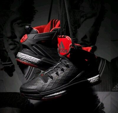 new product a161e b2017 ADIDAS D ROSE 6 BOOST BLACK RED MENS BASKETBALL TRAINERS UK 8 Brand New
