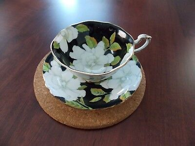 Paragon England By Appointment Queen Mary. White Floral On Black Tea Cup