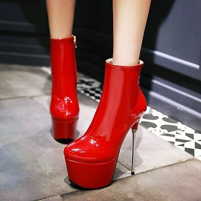 Womens Sexy Patent Leather Shiny Ankle Boots Platform Stilettos High Heels Shoes