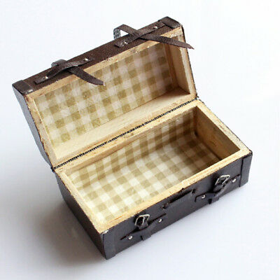 Dollhouse Miniature Vintage Wood Carrying Suitcase Luggage Box LD