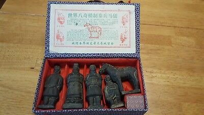 Qin Dynasty Terracotta figurines, 5-piece set; 4 warriors and 1 horse