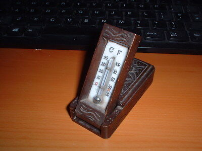 Treen Barometer - Small Carved Wooden Novelty Box Barometer from Chesieres Swiss