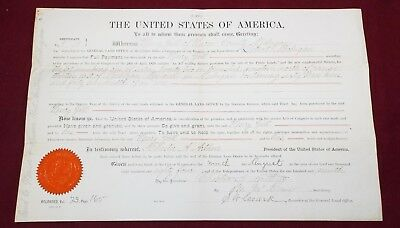 Antique 1884 LAND DEED Document Meridian MICH. CHESTER A. ARTHUR 21st President