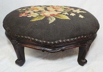 Old Antique Victorian CARVED Walnut NEEDLEPOINT TOP Floral FOOTSTOOL Hassock