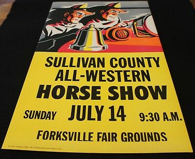 1963 Sullivan County All-Western Horse Show Poster Forksville Fair Grounds NICE!