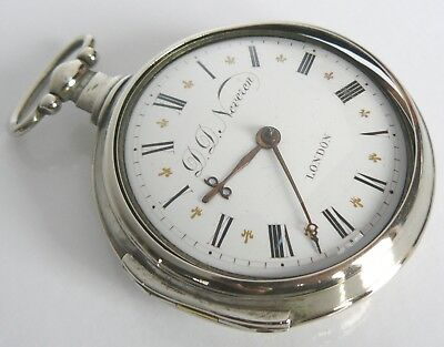 Georgian 1770 Verge Fusee Neveren London Hm Paired Swingout Pocket Watch Working