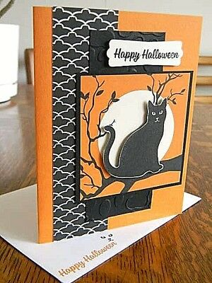 Greeting cards gift tags handcrafted finished pieces crafts black cat in a tree handmade handstamped halloween greeting card m4hsunfo