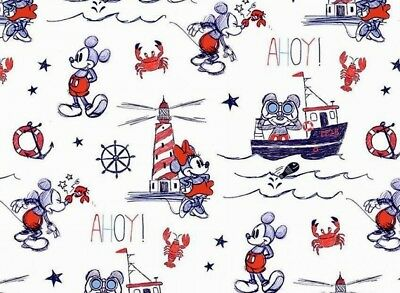 Disney Mickey & Minnie Mouse  Mickey Ahoy Fabric  100% Cotton Ships  By The Yard