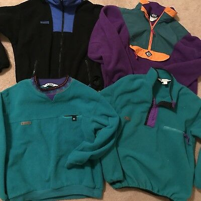 Vintage Mens Lot Of 4 Fleece Columbia Sportswear, Woolrich Neon Large Pullovers