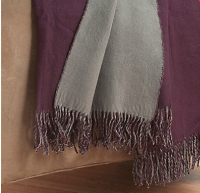 """Cozelle Reversible Fringed Throw in Eggplant - 50"""" x 60"""""""