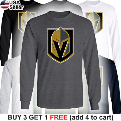 Las Vegas Golden Knights Long T-Shirt Men Sleeved Cotton LV Graphic