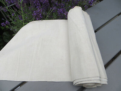 """Antique  Handwoven Natural   Linen Fabric 21.50    """"by 4.13Yards Unused"""