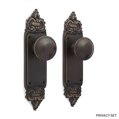Roselyne Decorative Door Plate and Small Round Bead Set Dummy  Privacy  Passage