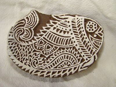 Sheesham Wood Indian Craft Printing Block, Fat Fish,  Handcarved, New And Unused