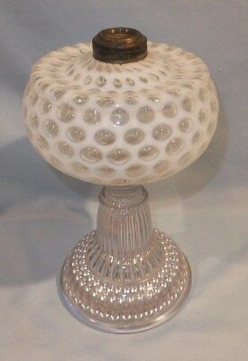 1880's Hobbs Coin dot thousand eye table oil lamp