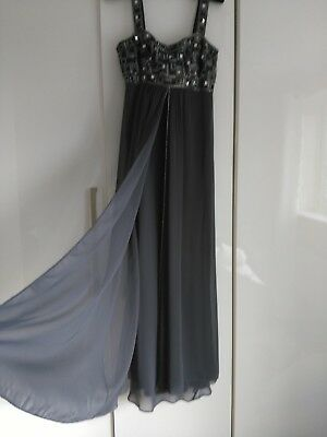 Ladies Long Dress. Soft Grey. Jewelled Bodice And Jewelled Straps. Voile Overlay