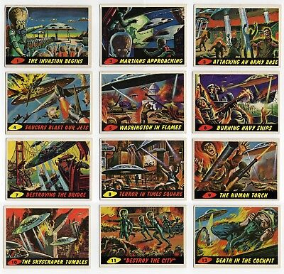 1962 Topps MARS ATTACKS Cards – Complete Unmarked 55 Card Set - Original Owner
