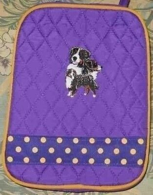 Quilted Fabric Lunch Bag BERNESE MOUNTAIN DOG Dog Breed PURPLE Insulated Lunch S