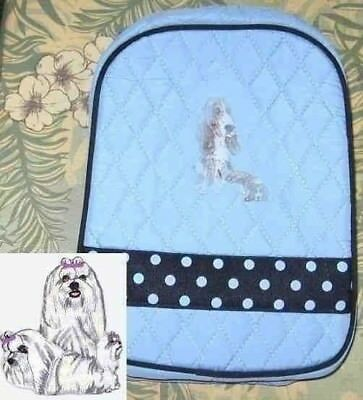 Quilted Fabric Lunch Bag MALTESE Dog Breed PALE BLUE Insulated Lunch Sack