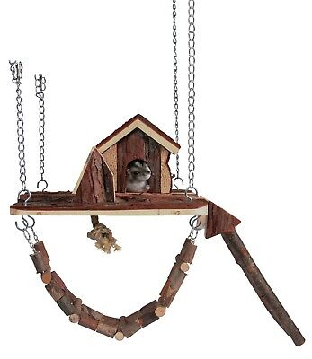 OFFER 6222 Trixie Natural Wood House & Playground Small Hamster Mice Gerbil