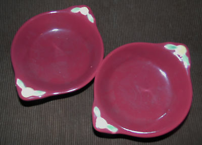 Set of Two Excellent Coors Burgundy Rosebud Dessert Dishes