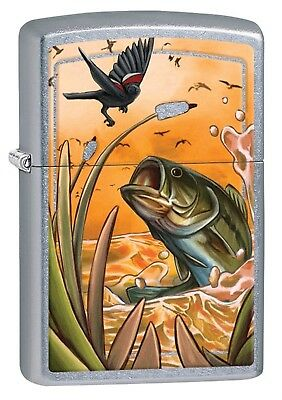 Zippo Lighter: Great Outdoors Bass and Bird - Satin Chrome Finish 29391