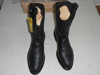 New WORKMEN V Genuine Black Leather Pull On Work Boots (717) - Size 9.5